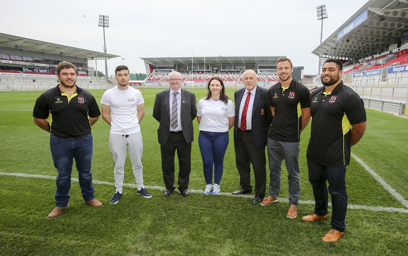 Pictured left to right:  Wiehahn Herbst; Andon Shqypi (18), Give & Take Belfast participant; Paddy Mooney, Director at Include Youth; Jemma Monteith (18), Give & Take Ards participant; John McKibbin, IRFU (Ulster Branch) President; Tommy Bowe; and Rodney Ah You.