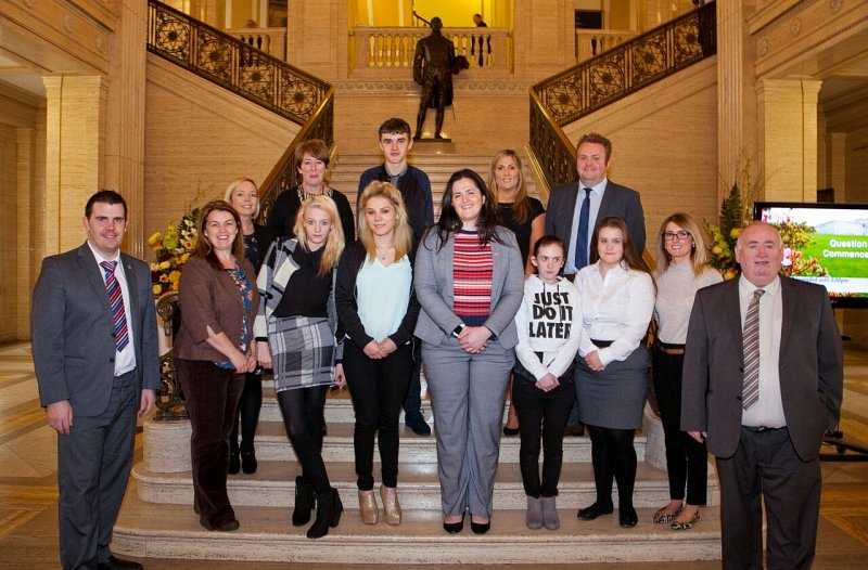 Young people from Aiming Higher with Members of the Employment and Learning Committee