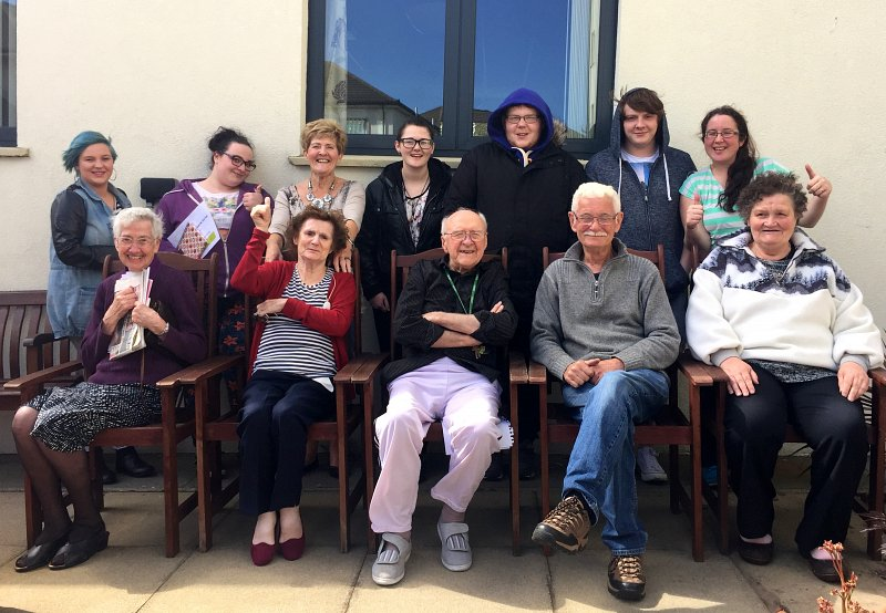 Residents from Clanmill Housing's Savoy Bangor with young people from Include Youth's Give and Take Scheme in Newtownards who took part in an intergenerational project called Dine and Design, funded by Linking Generations NI.